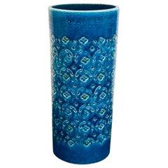 Raymor Bitossi Italian Pottery Tall Vase Remini Blue
