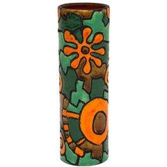 Raymor Bitossi Vase, Ceramic, Abstract Orange Green, Signed
