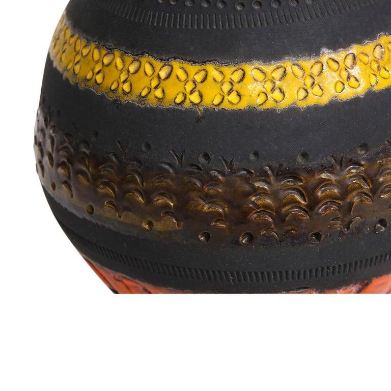Bitossi for Raymor Vase, Ceramic, Matte Black, Yellow and Orange, Signed For Sale 3