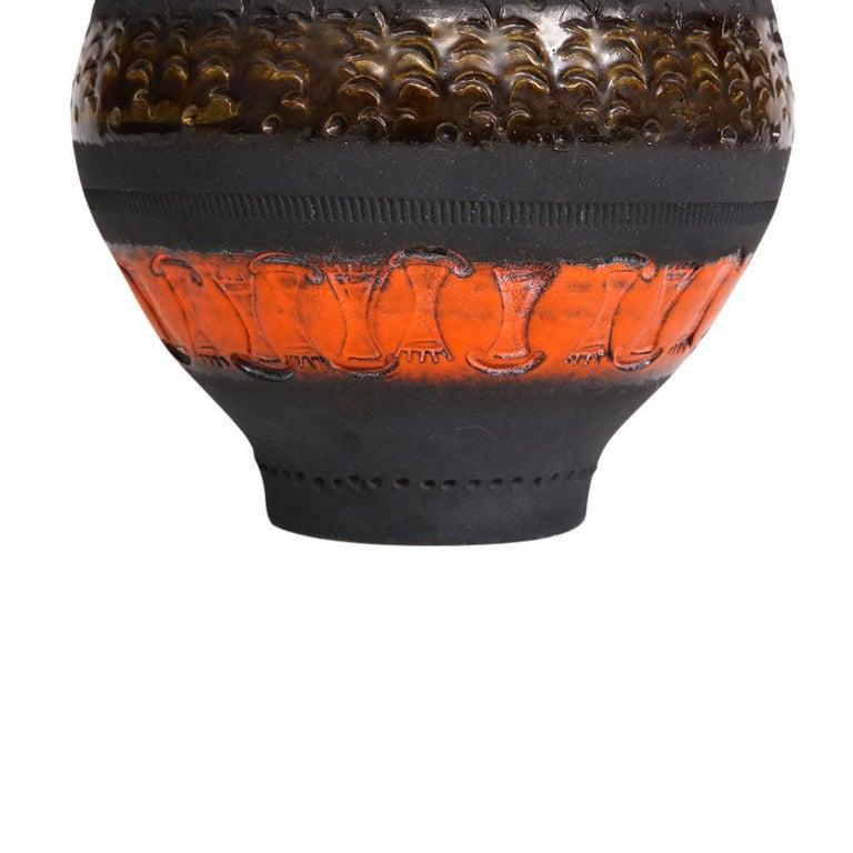 Bitossi for Raymor Vase, Ceramic, Matte Black, Yellow and Orange, Signed For Sale 5