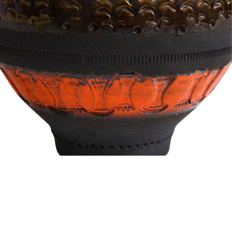 Bitossi for Raymor Vase, Ceramic, Matte Black, Yellow and Orange, Signed For Sale 6