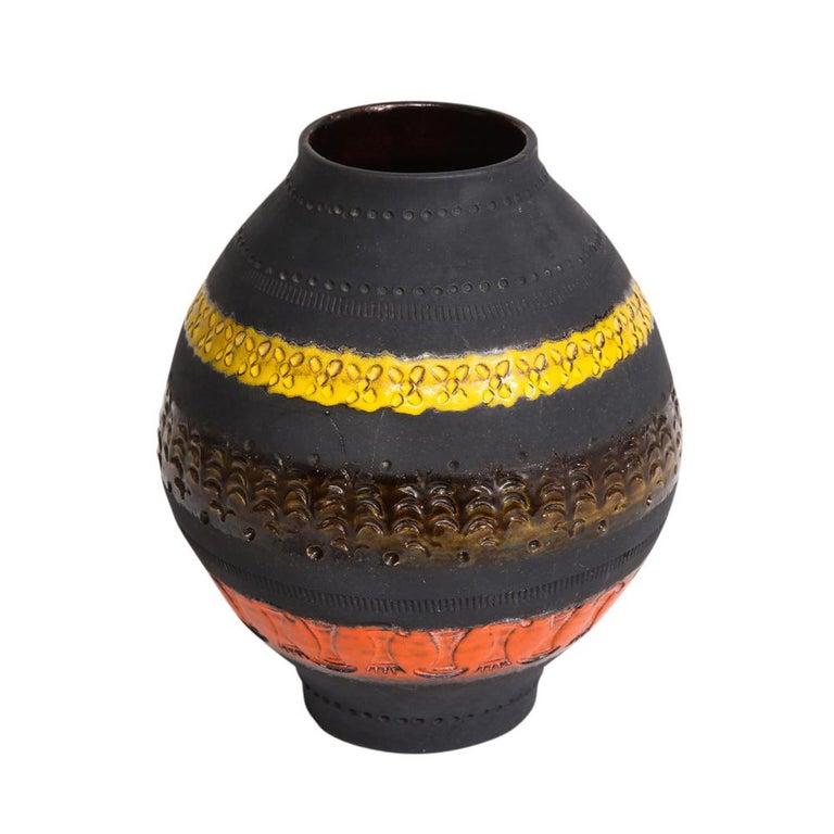 Glazed Bitossi for Raymor Vase, Ceramic, Matte Black, Yellow and Orange, Signed For Sale