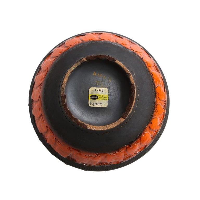Bitossi for Raymor Vase, Ceramic, Matte Black, Yellow and Orange, Signed For Sale 1