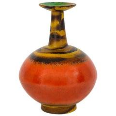 Raymor Bitossi Vase, Ceramic, Orange Yellow, Bagni Signed