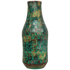 Raymor Bitossi Vase, Incised Ceramic, Gold, Chrome and Green, Signed