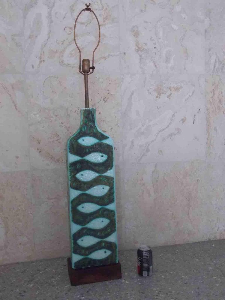 Mid-20th Century Raymor Ceramic Fish Lamp For Sale
