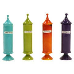 Raymor Ceramic Vice Jars/Kitchen Canisters. Set of Four Drug Names