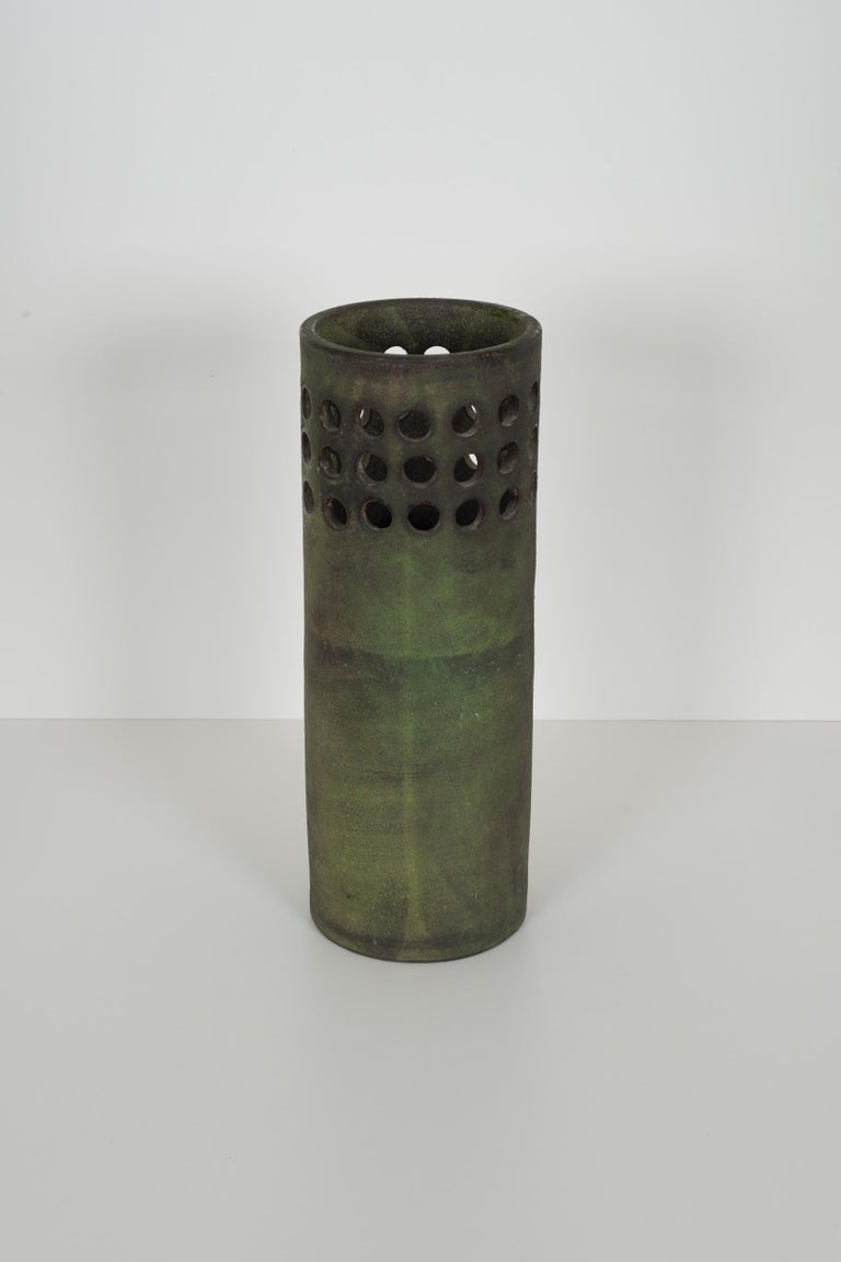 Mid-Century Modern Raymor for Italy Perforated Cylindrical Vase For Sale