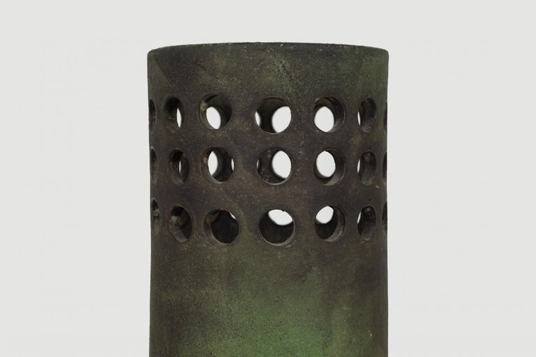 Glazed Raymor for Italy Perforated Cylindrical Vase For Sale
