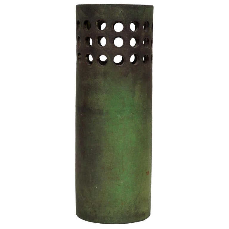 Raymor for Italy Perforated Cylindrical Vase For Sale