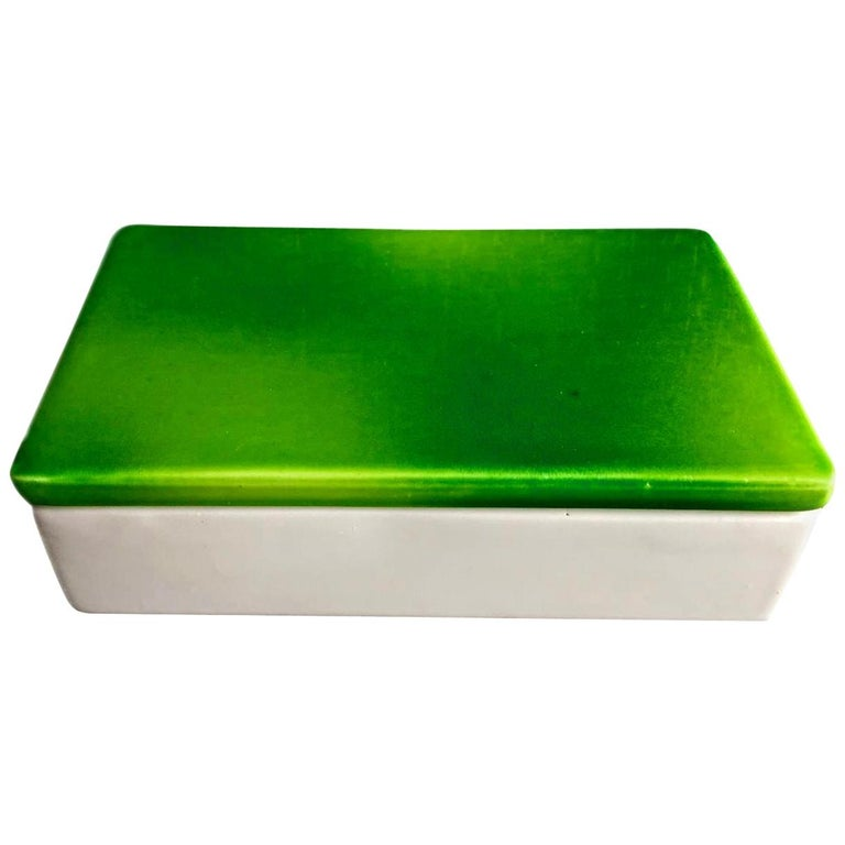 Raymor Green and White Ceramic Box For Sale