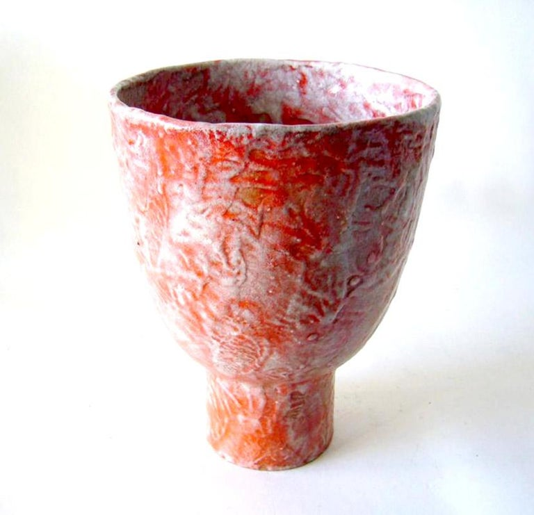 Textured, foamy glaze ceramic Italian open vessel imported by Raymor, circa 1960s. Urn measures 10.5