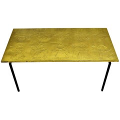 Raymor Scandinavian Modern Repoussé Brass Table in the Style of Bjorn Wiinblad