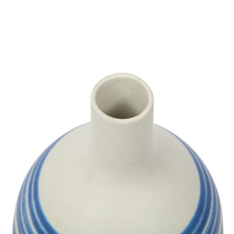 Raymor Vase Ceramic, Blue and White Stripes, Signed For Sale 3