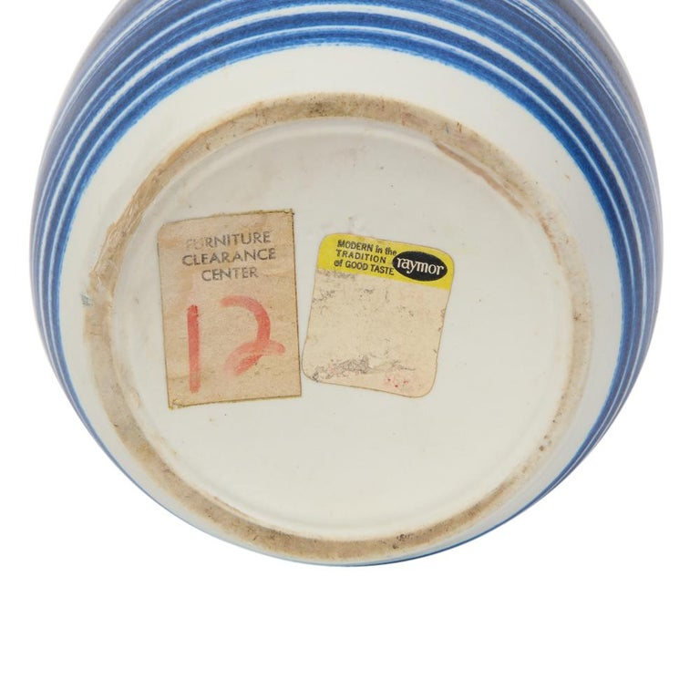 Raymor Vase Ceramic, Blue and White Stripes, Signed For Sale 5