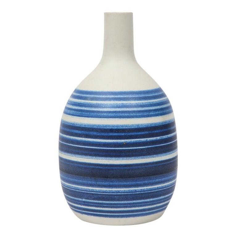 Mid-Century Modern Raymor Vase Ceramic, Blue and White Stripes, Signed For Sale
