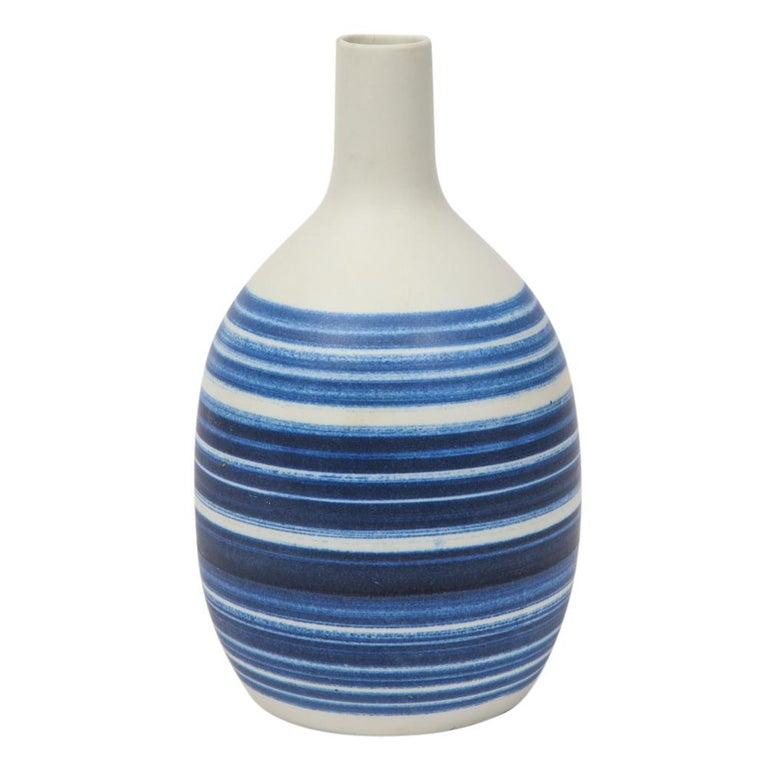 Swedish Raymor Vase Ceramic, Blue and White Stripes, Signed For Sale