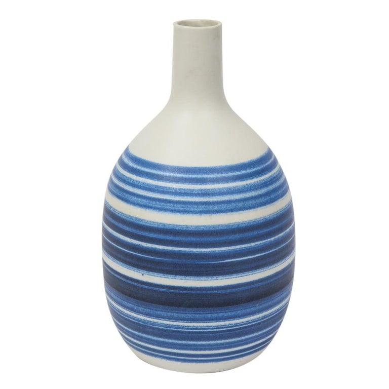 Glazed Raymor Vase Ceramic, Blue and White Stripes, Signed For Sale