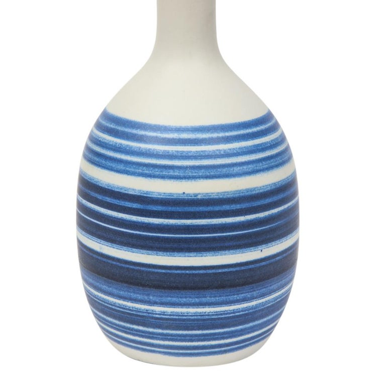 Raymor Vase Ceramic, Blue and White Stripes, Signed In Good Condition For Sale In New York, NY