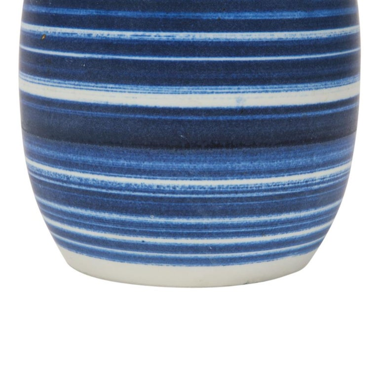 Late 20th Century Raymor Vase Ceramic, Blue and White Stripes, Signed For Sale