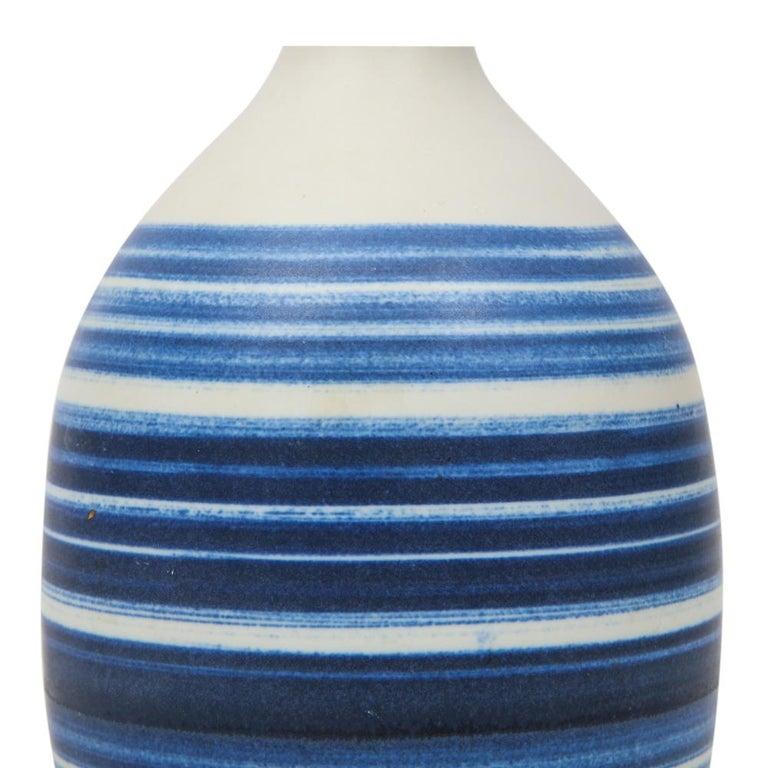 Raymor Vase Ceramic, Blue and White Stripes, Signed For Sale 1