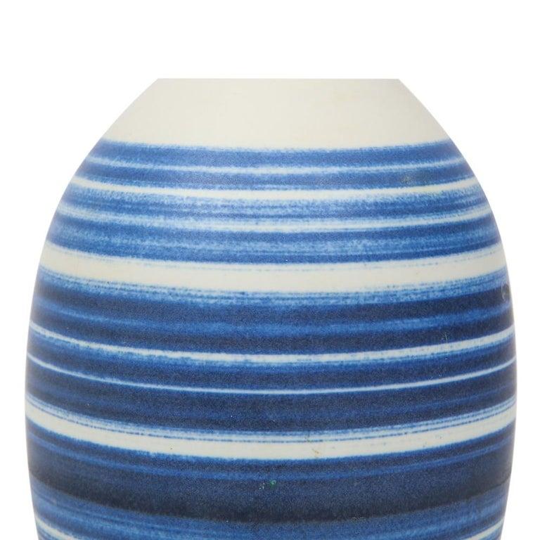Raymor Vase Ceramic, Blue and White Stripes, Signed For Sale 2