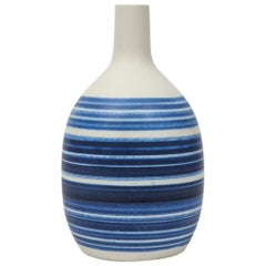 Raymor Vase Ceramic, Blue and White Stripes, Signed
