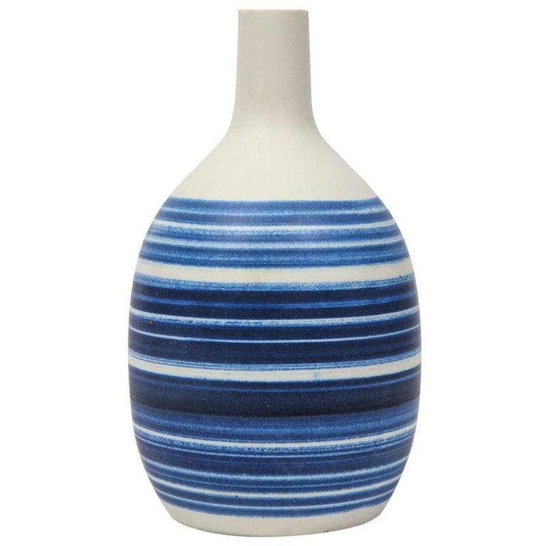Raymor Vase Ceramic, Blue and White Stripes, Signed For Sale