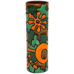 Raymor Vase, Ceramic, Orange Green and Brown, Signed