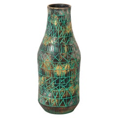 Raymor Vase, Ceramic, Sgraffito, Green, Gold, Chrome, Signed