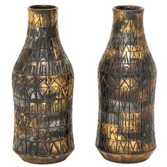 Raymor Vases, Ceramic, Gold, Silver and Gunmetal, Signed