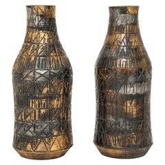 Raymor Vases, Ceramic, Sgraffito, Gold, Silver, and Gunmetal, Signed