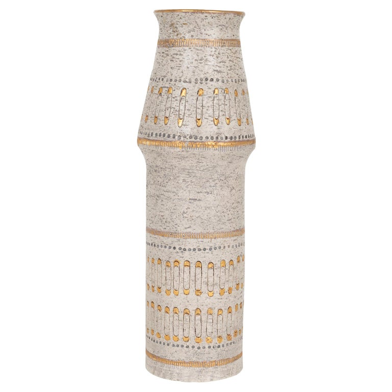 Raymor White and Gold Italian Vase For Sale