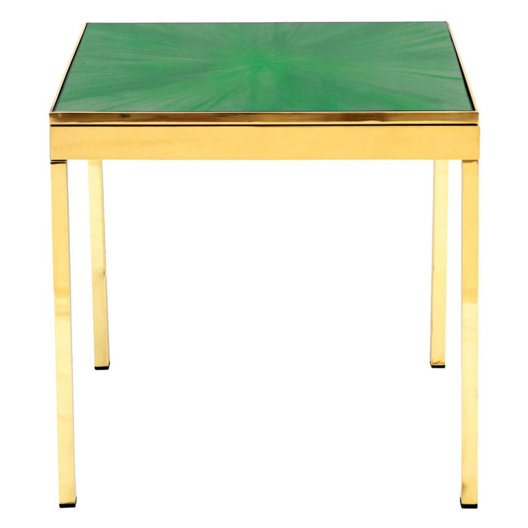 Rays III Green Brass Bedside Table by Allegra Hicks For Sale