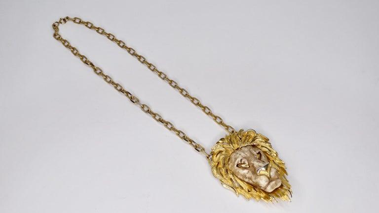 Razza 1970s Lion Pendant Necklace  In Good Condition For Sale In Scottsdale, AZ