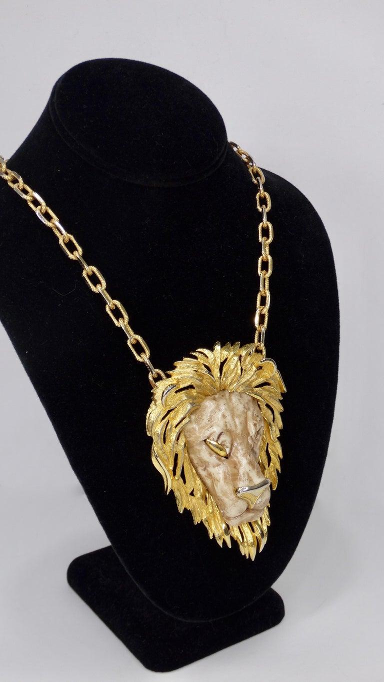 Women's or Men's Razza 1970s Lion Pendant Necklace  For Sale