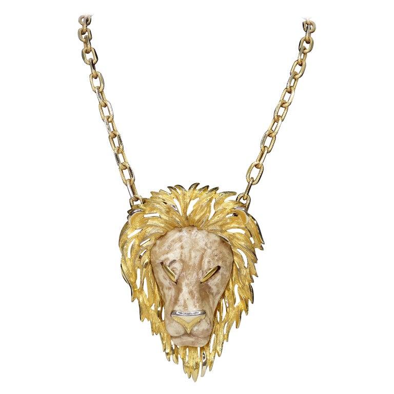 Razza 1970s Lion Pendant Necklace  For Sale