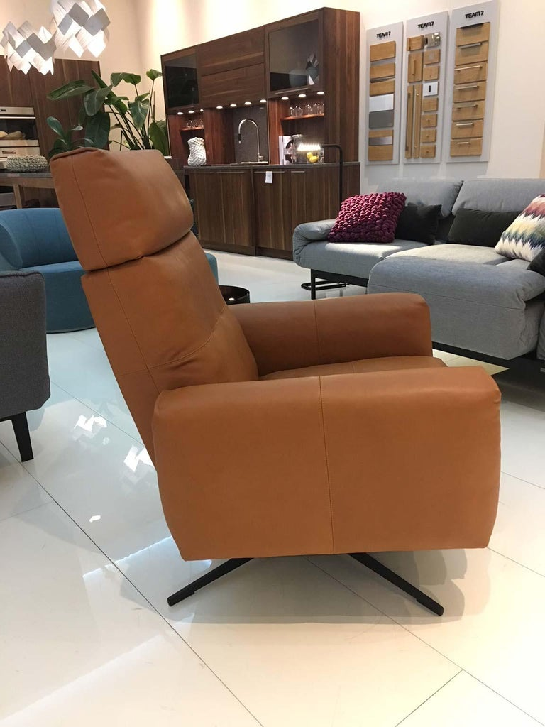 RB 50 Cognac Brown Leather Armchair with Black Four Star Swivel Base, Rolf Benz 3