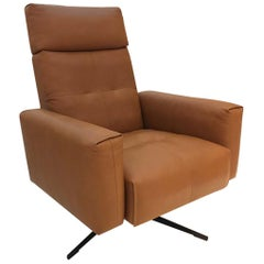 RB 50 Cognac Brown Leather Armchair with Black Four Star Swivel Base, Rolf Benz