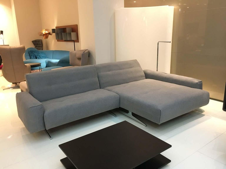 RB 50 Grey Fabric 2-Piece Sectional Sofa with Polished Chrome Legs by Rolf Benz 2