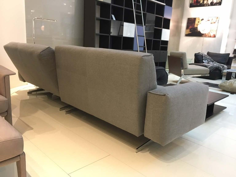 RB 50 Grey Fabric 2-Piece Sectional Sofa with Polished Chrome Legs by Rolf Benz 3