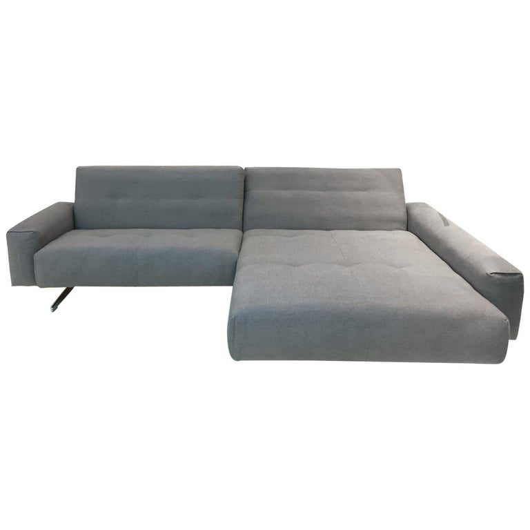 RB 50 Grey Fabric 2-Piece Sectional Sofa with Polished Chrome Legs by Rolf Benz For Sale