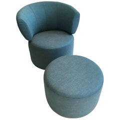 RB 684 Swivelling Armchair and Ottoman in Aqua Blue Fabric by Rolf Benz