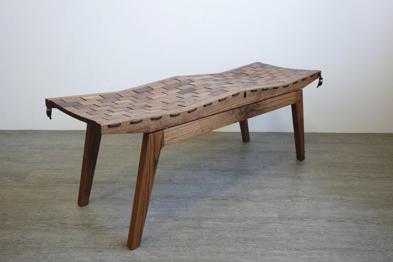 American RB Bench, Modern Handcrafted Sculptural Maple Bench For Sale