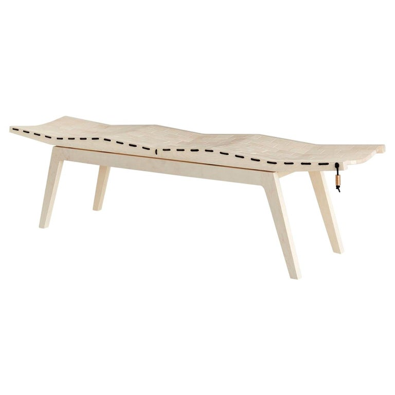 RB Bench, Modern Handcrafted Sculptural Maple Bench For Sale