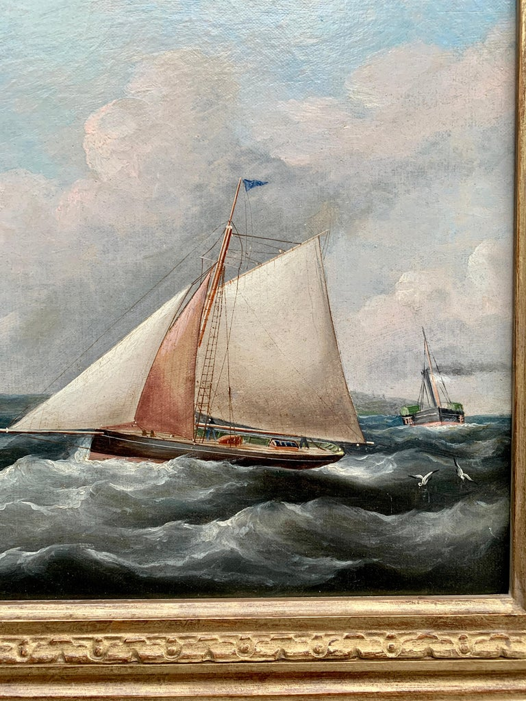 Antique 19th century English Yacht and Warship at sea off Portsmouth Harbor UK - Painting by R.B.Spencer