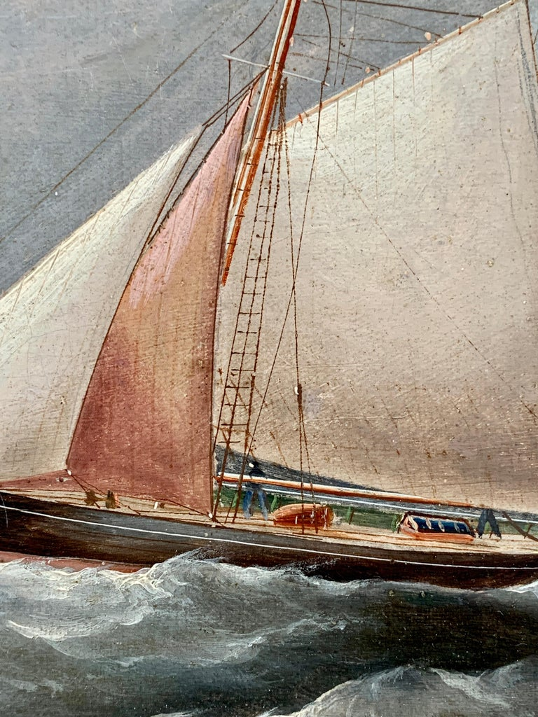 Antique 19th century English Yacht and Warship at sea off Portsmouth Harbor UK - Victorian Painting by R.B.Spencer
