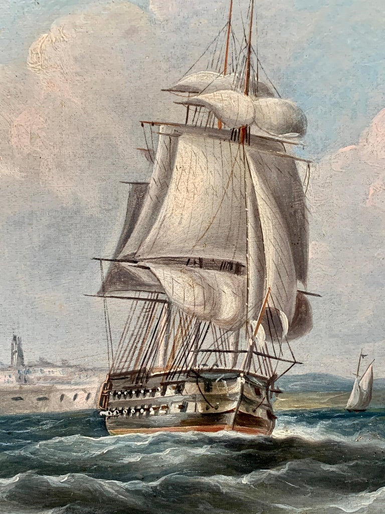 Antique 19th century English Yacht and Warship at sea off Portsmouth Harbor UK - Beige Landscape Painting by R.B.Spencer