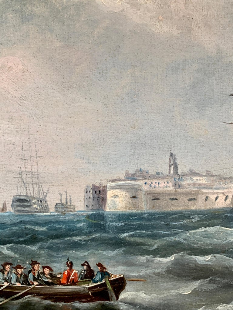 Antique English marine View of Portsmouth harbor, with yachts and a warship sailing just outside the harbor.  R. B. Spencer is known for his portraits of ships. It is thought that he is the brother of William Barnett Spencer who painted the same