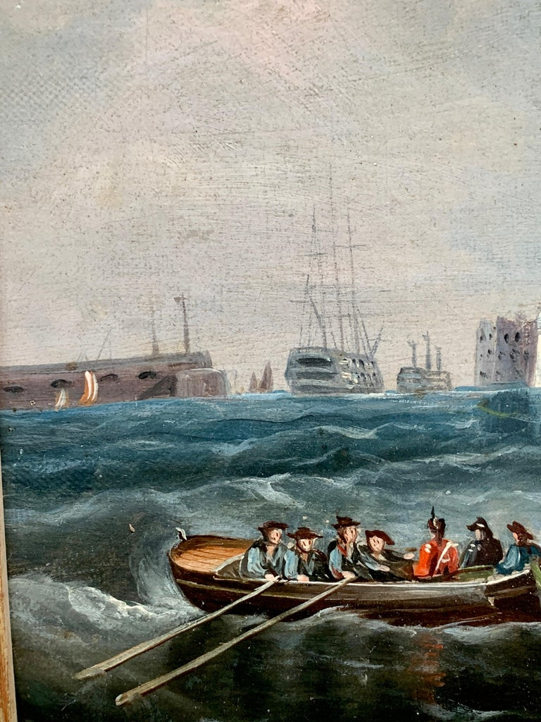 Antique 19th century English Yacht and Warship at sea off Portsmouth Harbor UK For Sale 1
